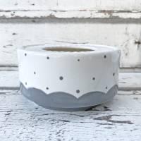 Stövchen, grau gepunktet, passend zur tanzenden Kanne, Keramik handbemalt Bild 2