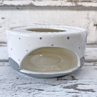 Stövchen, grau gepunktet, passend zur tanzenden Kanne, Keramik handbemalt Bild 3