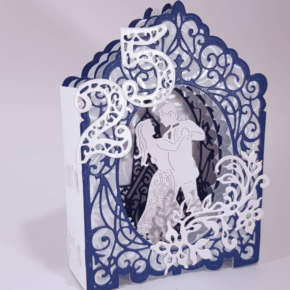 Silberhochzeit-Karte Dioramakarte weiß blau perlmutt edel elegant Stellkarte Grußkarte   Bild 1