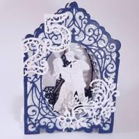 Silberhochzeit-Karte Dioramakarte weiß blau perlmutt edel elegant Stellkarte Grußkarte   Bild 2
