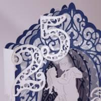 Silberhochzeit-Karte Dioramakarte weiß blau perlmutt edel elegant Stellkarte Grußkarte   Bild 3