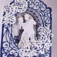 Silberhochzeit-Karte Dioramakarte weiß blau perlmutt edel elegant Stellkarte Grußkarte   Bild 4