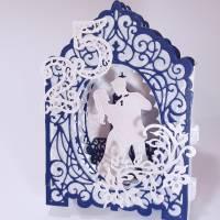 Silberhochzeit-Karte Dioramakarte weiß blau perlmutt edel elegant Stellkarte Grußkarte   Bild 5