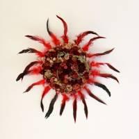 Trockenblumen & Federn *Zwei Trends in einem* Wanddekoration Wandkranz ca. 50cm ROT Dried flowers and feathers Bild 2