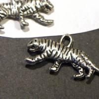 Charms, Tiger, silberfarben, 2 Stück, Schmuckanhänger Bild 4