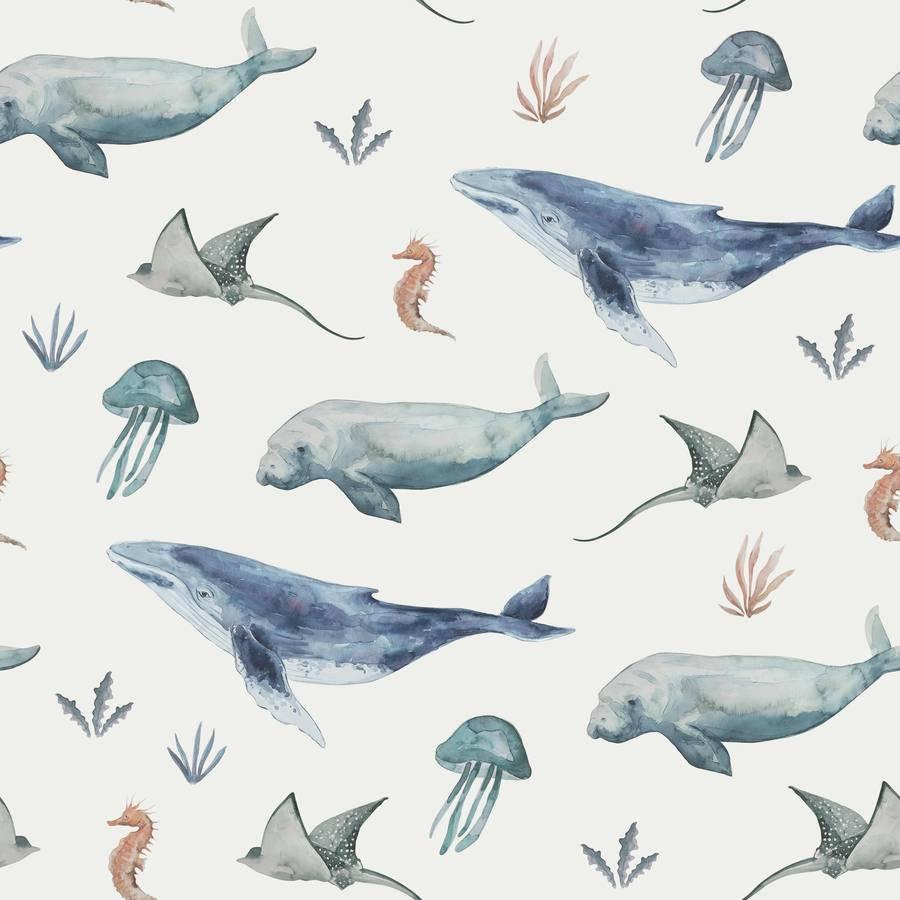 ab 50cm Jersey Sea Life Watercolor  Stoff  - Wal, Meer Aquarell Druckstoff Bild 1