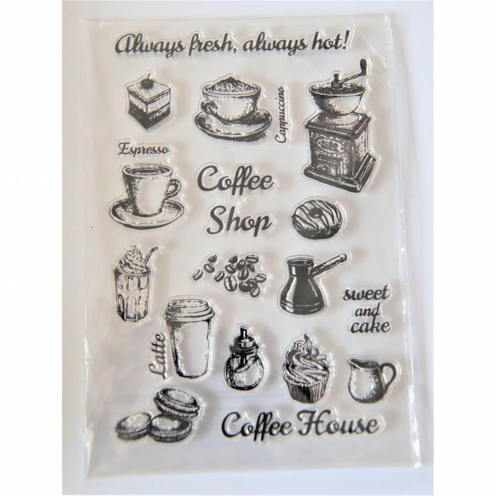 Stempel Silikonstempel Clearstamps Buchstaben  Kaffee Tasse Kaffeemühle Bild 1