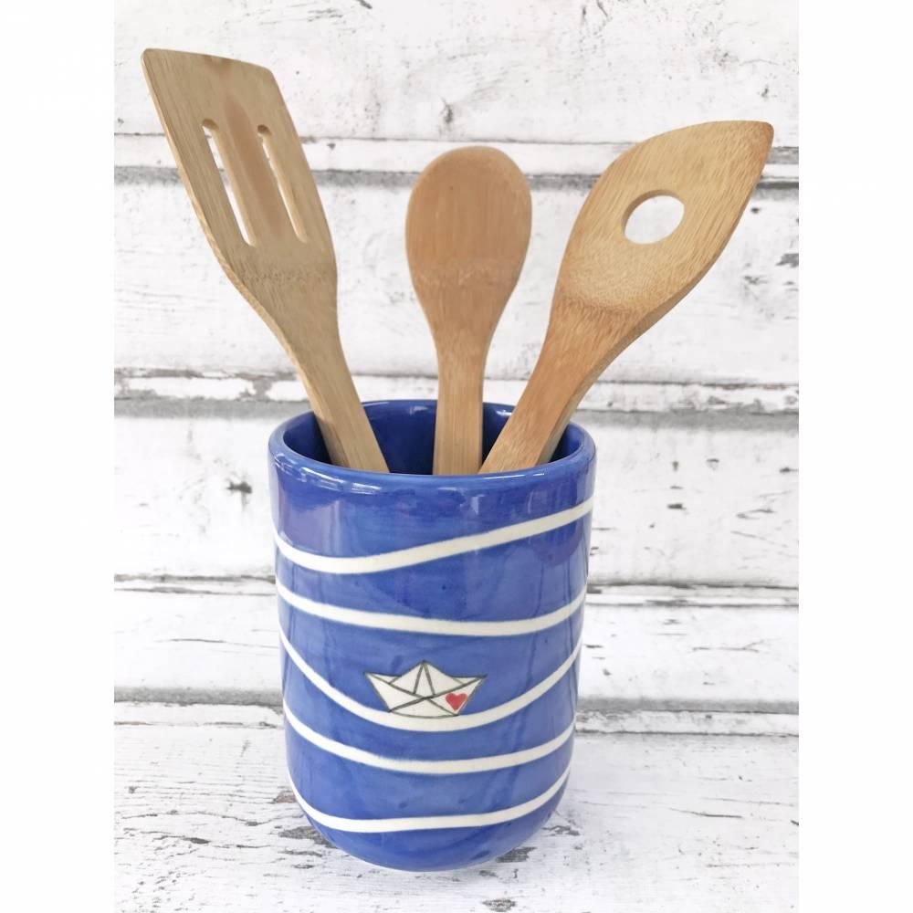 Utensilo, Vase, Kochlöffelbehälter , Papierboot Design, Keramik handbemalt Bild 1