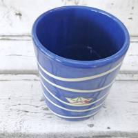 Utensilo, Vase, Kochlöffelbehälter , Papierboot Design, Keramik handbemalt Bild 3
