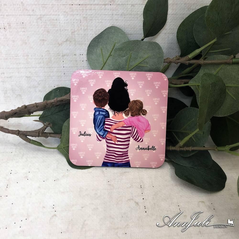 Untersetzer *personalisierbar* Mama mit Kindern Bild 1