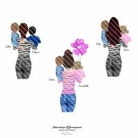 Untersetzer *personalisierbar* Mama mit Kindern Bild 4