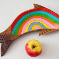 Regenbogenforelle, Holzschale bemalt, Teakholzschale, 60s, Sixties, Upcycling, Regenbogen, Teak Bild 1