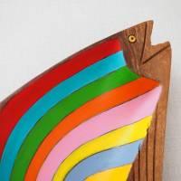 Regenbogenforelle, Holzschale bemalt, Teakholzschale, 60s, Sixties, Upcycling, Regenbogen, Teak Bild 2