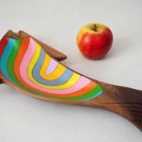 Regenbogenforelle, Holzschale bemalt, Teakholzschale, 60s, Sixties, Upcycling, Regenbogen, Teak Bild 6