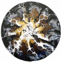 Rundes Bild, Sonne, Acrylmalerei auf Leinwand Bild 1