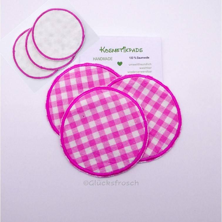 3 Kosmetikpads, rosa, kariert, waschbar, wieder verwendbar, umweltfreundlich Bild 1