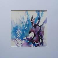 Aquarellbild abstrakt blau lila - Original Bild 1