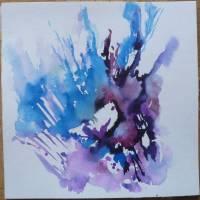 Aquarellbild abstrakt blau lila - Original Bild 2