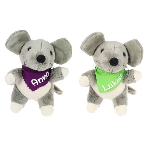 Kuscheltier Maus grau 16cm mit Namen am Halstuch - Personalisierte Schmusetiere für Jungen und Mädchen