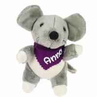 Kuscheltier Maus grau 16cm mit Namen am Halstuch - Personalisierte Schmusetiere für Jungen und Mädchen  Bild 3