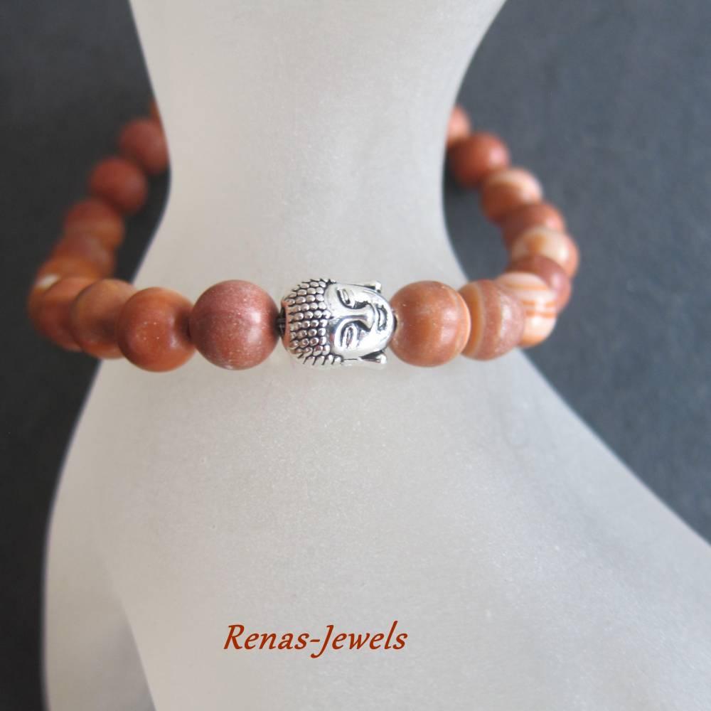 Herren Edelstein Armband Jaspis braun marmoriert silberfarben Männer Buddha Armband Edelsteinarmband Bild 1