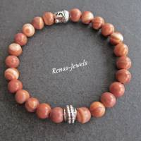 Herren Edelstein Armband Jaspis braun marmoriert silberfarben Männer Buddha Armband Edelsteinarmband Bild 2