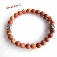 Herren Edelstein Armband Jaspis braun marmoriert silberfarben Männer Buddha Armband Edelsteinarmband Bild 3