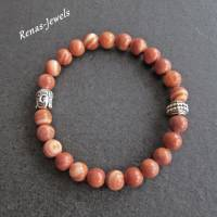 Herren Edelstein Armband Jaspis braun marmoriert silberfarben Männer Buddha Armband Edelsteinarmband Bild 4