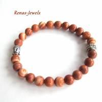 Herren Edelstein Armband Jaspis braun marmoriert silberfarben Männer Buddha Armband Edelsteinarmband Bild 5