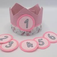 Geburtstagskrone mit wechselbaren Zahlen, Federmuster und Tasche Bild 1