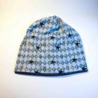 Beanie, Mütze, Jersey, grau, grüne Rauten, schwarze und gelbe Sterne, Gr. 56-60 cm Kopfumfang Bild 1