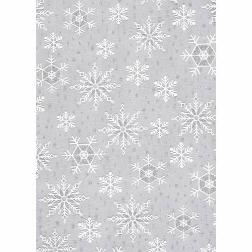Deko-Stoff Eisblume Weiß-Silber