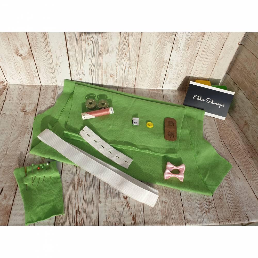 Rundum-sorglos Nähset Leggings Miriam, limegrüner Jersey mit weißen Wolken, diverse Größen, DIY Paket Bild 1