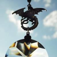 Drachen Fensterschmuck mit Regenbogen Kristall und bronze Ornamenten Bild 3