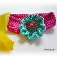 Gehäkeltes Armband mit Vogel in Wiesenblume - Häkelblume,modisch,trendy,hippie,boho,fuchsia,jade Bild 2