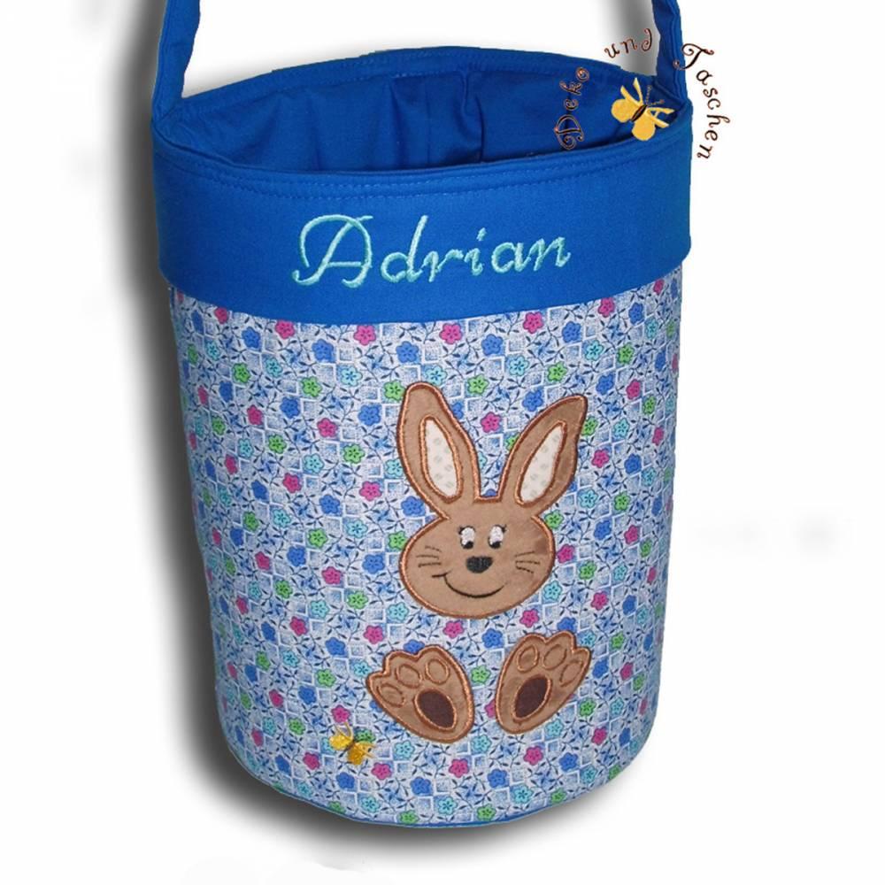 Besticktes Osterkörbchen mit Namen Ostertasche Osternest Tasche Kinder Stofftasche Utensilo Geschenktasche  Bild 1
