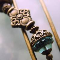 Tuchnadel im Boho Chic - sehr große Bronze Schmucknadel mit böhmischen Glasperlen in Türkis Bild 7