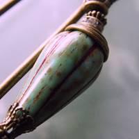 Tuchnadel im Boho Chic - sehr große Bronze Schmucknadel mit böhmischen Glasperlen in Türkis Bild 8