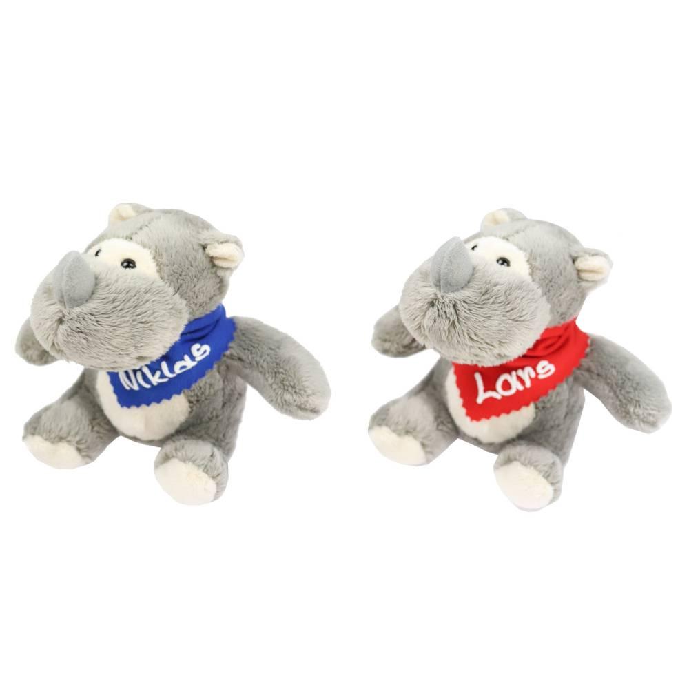 Kuscheltier Nashorn grau 14,5cm mit Namen am Halstuch - Personalisierte Schmusetiere für Jungen und Mädchen  Bild 1