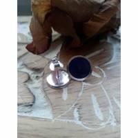 Ohrstecker 2 Paare Glitzer silber und lila Cabochon 925er Sterling Silber Geschenk zur Kommunion Konfirmation Firmung Bild 3