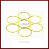 3/10 Binderinge flach vergoldet Ø 20mm außen, 18mm innen, Dicke 0,9mm. Bild 1