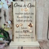 Holz Oma Opa Geschenk Spruch beleuchtet Enkel Danke Schrift personalisiert Bild 1