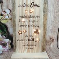 Holz Oma Opa Geschenk Spruch beleuchtet Enkel Danke Schrift personalisiert Bild 2