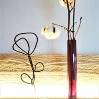 Handgemachte Skulptur Blume aus Draht und Holz   industrial Deko Wohnzimmer   Metallfigur Rose   modern & minimalistisch Bild 7