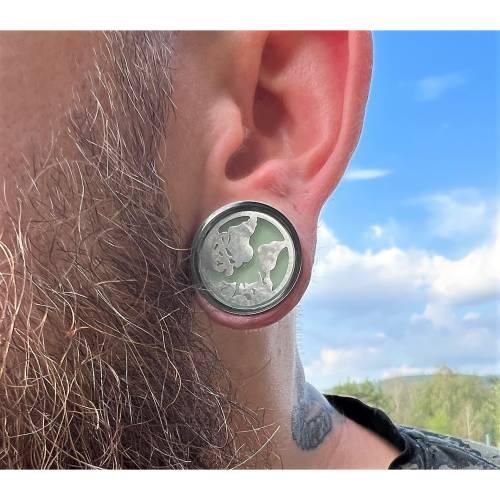 Plug, Welt, nachtleuchtend, Harz und Edelstahl, Farbauswahl, handmade