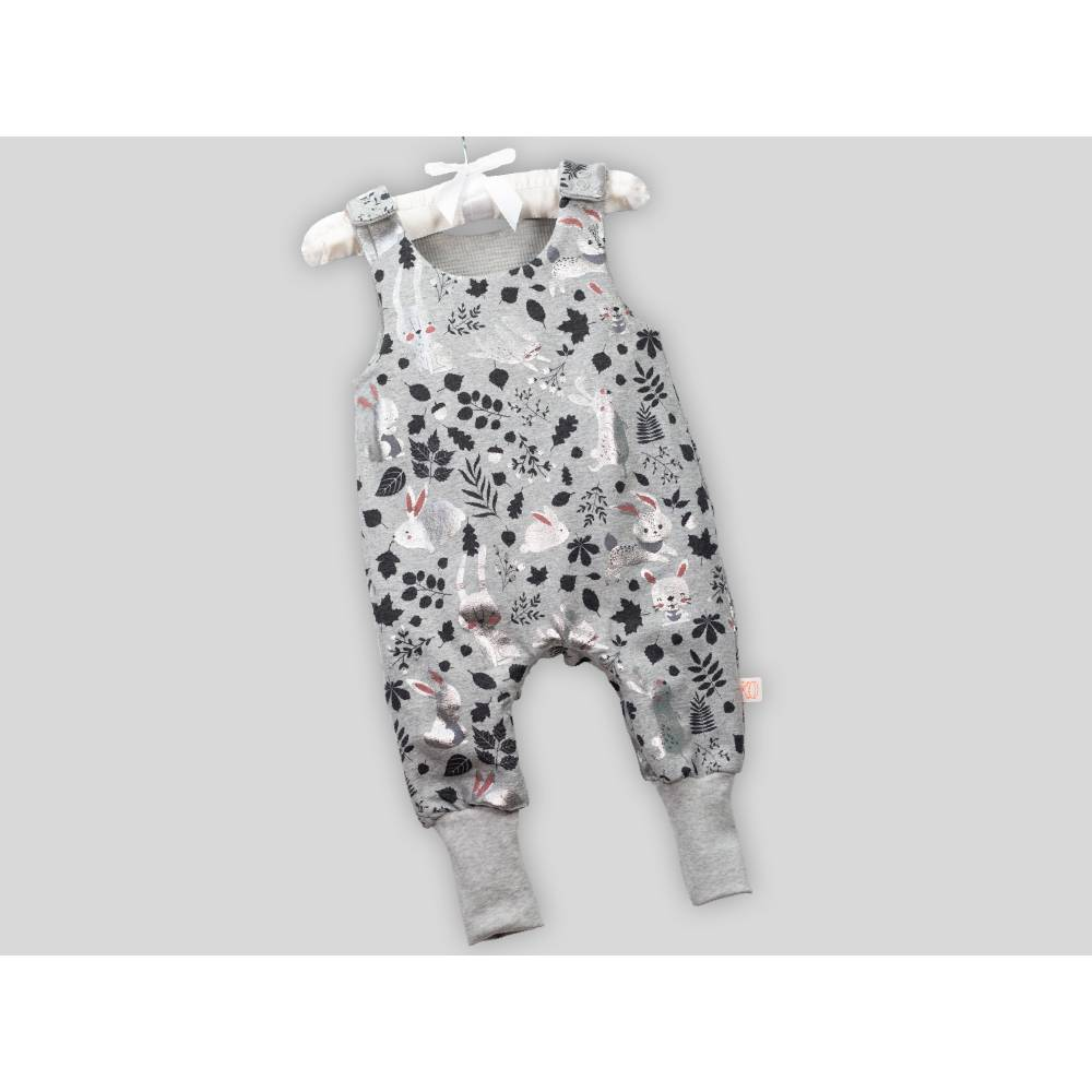 Baby Strampler Hase Metalic mit Druckknöpfen Bild 1