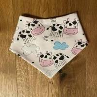 Halstuch Plastikdruckknöpfe 2 Größen süße  Kuh + Wolken happy cow auf weiß, Futter dunkelblau  Bild 1
