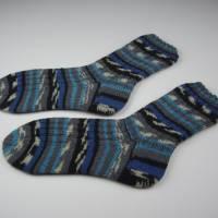 gestrickte Socken Gr 42-43,blau,grau,schwarz,Herrensocken 42-43 handgestrickt,Socken Gr 42-43 handgestrickt Bild 1