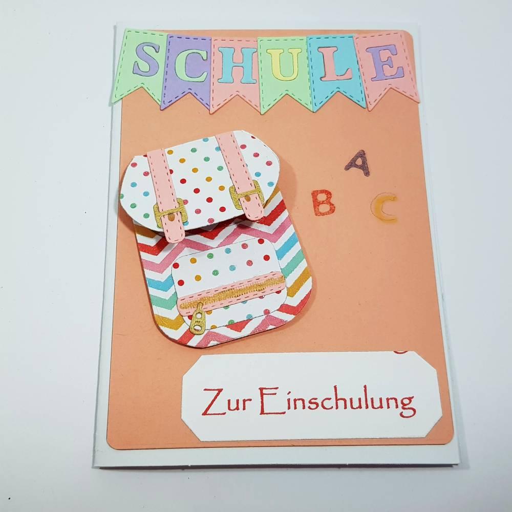 Einschulung Grußkarte Schultasche ABC Glückwunschkarte Bild 1