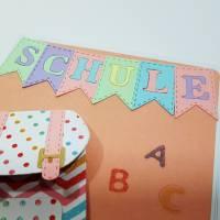 Einschulung Grußkarte Schultasche ABC Glückwunschkarte Bild 3